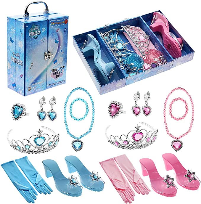 Princess Toys Gifts for 3 4 5 6 7 8 Year Old Girls,Toddler Kids Toys Games for ages 3+ Year Old Girls Princess Dress Up Shoes Indoor Outdoor Party Exquisite Display Box Birthday Easter Christmas Gifts