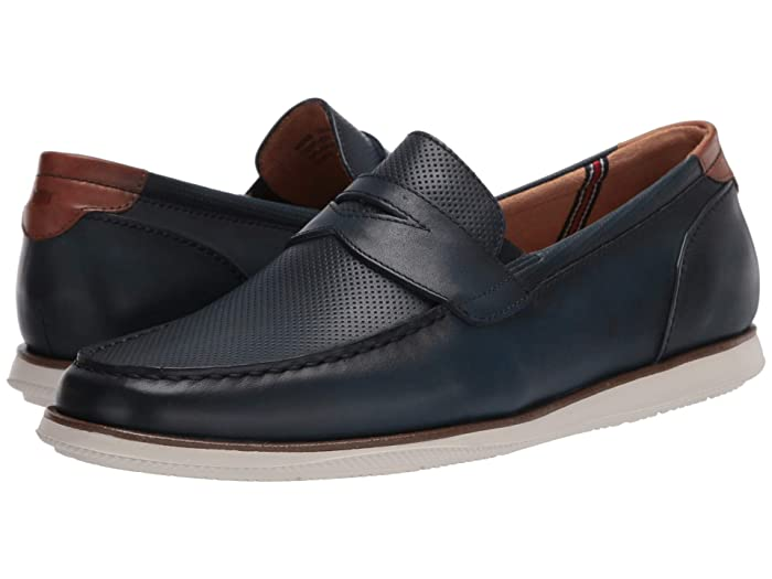 Florsheim  Atlantic Moc Toe Penny Loafer (Navy Smooth/White Sole) Mens Shoes