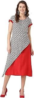 Women Geometric A-Line Rayon Dress (Red & Off-White)