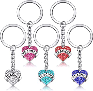 5 Pieces Heart Pendant Teacher Keychain Set Jewelry Crystal Love Heart Key Chain Teacher Appreciation Gift (Color 1)