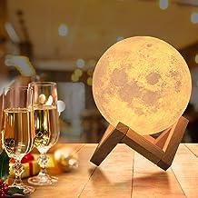 OxyLED Led-maanlamp met afstandsbediening, 18 cm lang, decoratieve lamp, 3D maanlamp, draagbaar nachtlampje met dimbaar, 1...