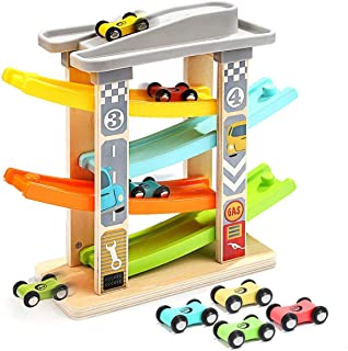 Aitey Toddler Car Toys for 1 2 Year Old, 4 Mini Cars Wooden Race Track Car Ramp Racer Game for Boy and Girl Gifts