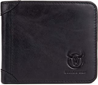 BULLCAPTAIN Wallets for Men Cowhide Leather RFID Blocking Slim Trifold Wallet with 2 ID Windows QB031H