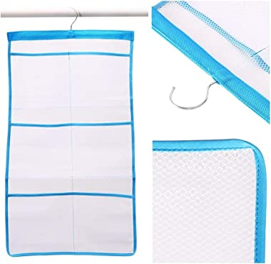 FishMM Mesh Bath Organizers for Shower with Hook, Quick Dry Hanging Shower Caddy College, Bath Storage with 6 Pockets for Col