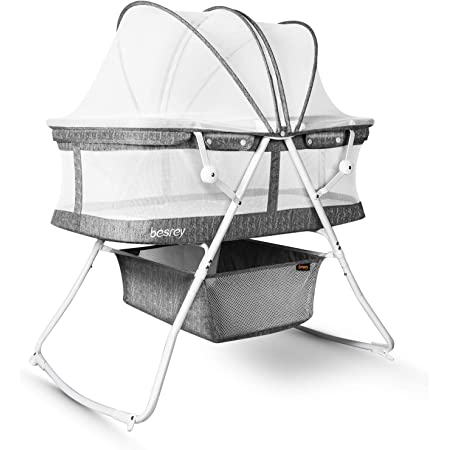 besrey Bassinet for Baby, 3 in 1 Portable Baby Bassinets, Rocking Cradle Bed, Easy Folding Bedside Sleeper Crib, Quick-Fold for Newborn Infant, up to 33 lb Compact Storage, Mattress and Net Included