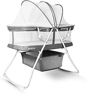 besrey Bassinet for Baby, 3 in 1 Portable Baby Bassinets, Rocking Cradle Bed, Easy Folding Bedside Sleeper Crib, Quick-Fold f