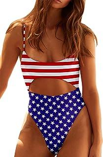 ملابس سباحة حريمي ESONLAR بأشرطة سباغيتي من الأمام والخلف قطعة واحدة علم الولايات المتحدة S