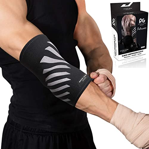 Physix Gear Elbow Brace Compression Sleeve - Neoprene Arm Support for Weightlifting, Tendonitis Pain, Tennis Elbow, G...