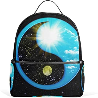 JSTEL Yin Yang GuaSpace Galaxy Twinkle School Backpacks for Boys Girls Bookbag