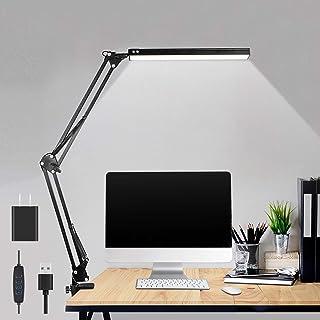 چراغ میز LED ، چراغ میز بازوی قابل تنظیم نوسان فلزی ibaye با گیره ، چراغ میز معماری چشم گیر ، 3 حالت رنگی 10 سطح روشنایی ، چراغ میز کار با عملکرد حافظه برای دفتر خانه ، 10W-Black