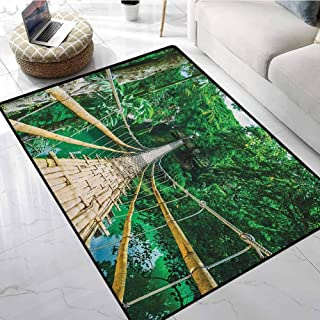 Tropical Classroom Area Rugs 3x5 ft Bamboo Pedestrian Suspension Bridge Over River in Tropical Forest Philippines Printed Carpet