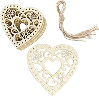 Supreona 30 PCS Heart Wooden Embellishments Tags Love Hanging Ornaments with Twines for DIY Wedding Crafts Valentine's Day
