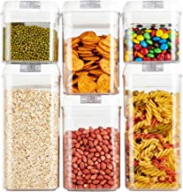 Airtight Food Storage Containers, Plastic cereal containers Hi-QTool BPA Free, 6 Pack Food Storage Containers for Flour an...