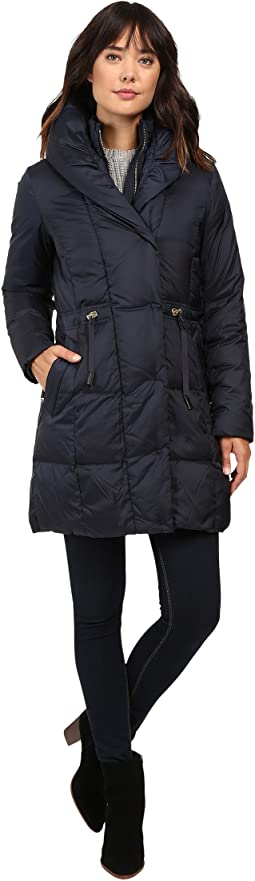 Bib Front Down Coat with Oversized Shawl Collar