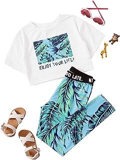Romwe Conjunto de pijama de 2 piezas de manga corta sin mangas y cinta de letras para niña