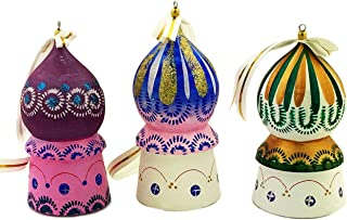 Religious Gifts Set of 3 Wooden Hand Made Russian Christmas Ornaments Church Domes 3 Inch