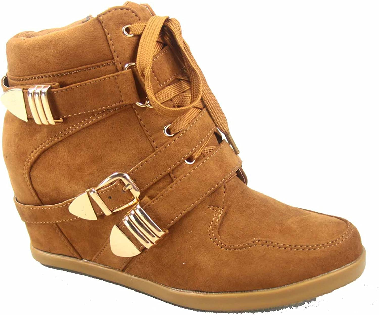 Forever Link Kaipo-83 Women's Fashion Hidden Wedge Zipper Lace up Ankle Booties Sheos