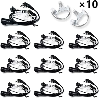TIDRADIO Walkie Talkie Earpiece with Mic 2 Pin Acoustic Tube Headsets for Kenwood Radio Baofeng UV-5R BF-888S Arcshell Retevis H-777 RT21 RT22 Two Way Radio Walkie Talkie Headset(10 Pack)