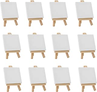 FIXSMITH 3x3 Inch Mini Stretched Canvas Easel Set- Bulk Pack of 12,Small Stretched White Blank Canvas Panels & Wood Easels for Painting Craft Drawing Decoration Gift Art Project DIY,Kids Art Supplies