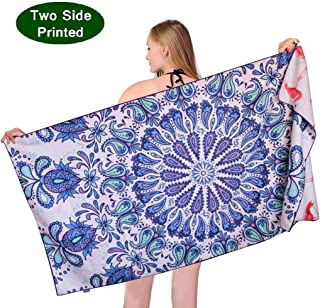 ponyprincess Microfiber Sand Free Beach Towel Blanket-Quick Fast Dry Super Absorbent Lightweight Thin Towel for Travel Pool Swimming Bath Camping Yoga Gym Sports Idea Paisley Mandala with Flamingo