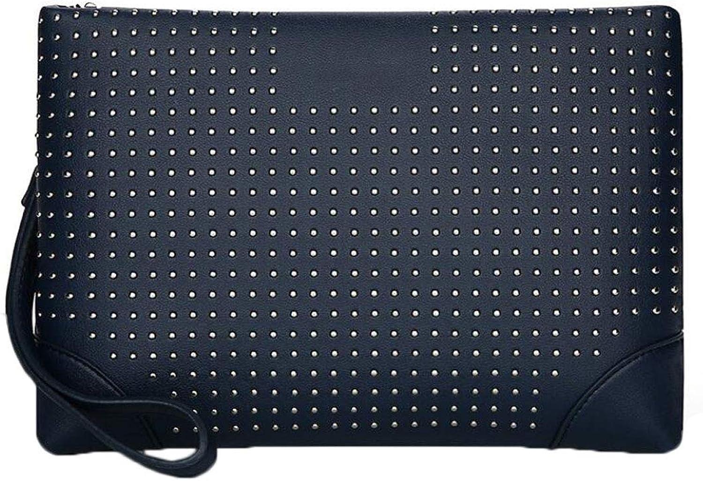96964381a Men's Clutch Bag Rivet Clutch Clutch Clutch Bag Business Clutch Bag Long  Wallet Cash Holder Green (color bluee) dcdc86