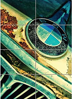 RUSTY BMW FRONT BADGE CAR GIANT WALL ART PRINT PICTURE POSTER G1273