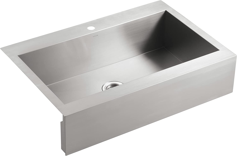 Amazon Com Kohler Vault Single Bowl 18 Gauge Stainless Steel Farmhouse Apron Front Single Faucet Hole Kitchen Sink Top Mount Drop In Installation K 3942 1 Na Home Improvement
