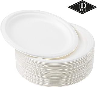 100 Platos Desechables de Papel de Caña de Azúcar, 26cm - Rigido y Resistente - Biodegradable y Ecológico - Impermeable y Apto para Microondas - Alternativa de Plástico Natural| Fiestas Cumpleaños.