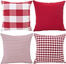 NIUIEME Throw Pillow Covers,Set of 4 Decorative Square Cushion Case for Sofa,18 x 18 Inch,red Series:Plaid,Pure red,Stripe and Smaller Plaid (RED White)