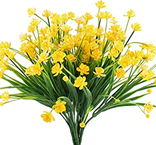 HOGADO Artificial Fake Flowers, 4pcs Faux Yellow Daffodils Greenery Shrubs Plants Plastic Bushes Indoor Outside Hanging Planter Wedding Cemetery Decor