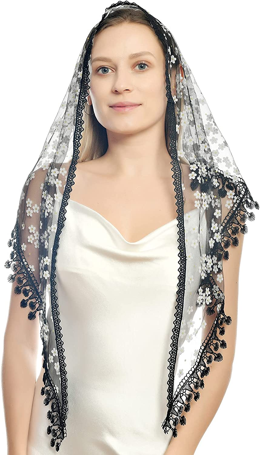Triangle Lace Veil Mantilla Cathedral Head Covering Chapel Veil for Mass Wedding Scarf Shawl Mass Head Covering