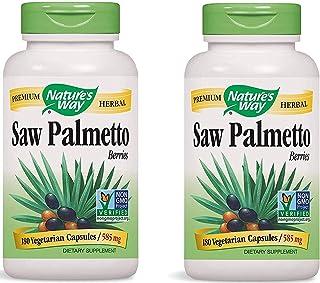 Nature's Way Premium Herbal Saw Palmetto Berries 585 mg (180 Vegetarian Capsules) Pack of 2