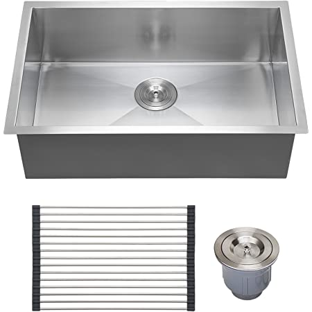 Voilamart 28 Inch Single Bowl 18 Gauge Stainless Steel Kitchen Sink Undermount Topmount Drop In Handmade Laundry Sink W Dish Tray Drain Amazon Com