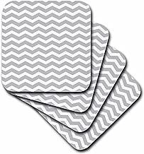 3dRose cst_56640_1 Zig Zag Pattern Aka Trendy Gray or Stylish Silver Soft Coasters, Grey and White Chevron, Set of 4