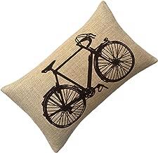 Aeneontrue Cotton Linen Modern Bicycle Bike Print Decorative Throw Pillow Cover (style1_Black)