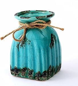 Anding Blue Modern Vase- Antique Design Ceramic Plant Pot Planter/Table Top Pencil Holder Home Decoration Vase (LY-2674 Blue)