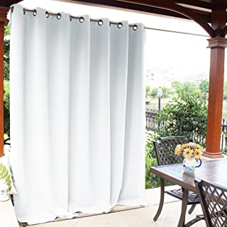 NICETOWN Outdoor Privacy Curtain for Pergola - Thermal Insulated Water Repellent Room Darkening Drape for Balcony, Privacy Curtain Room Divider (Greyish White, 1 Panel, 100 inches by 95 Inch)