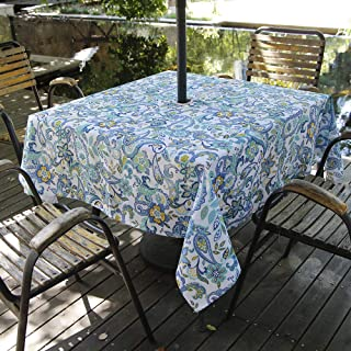 """Hipinger Heavyweight Wrinkle-Free Stain Resistant Waterproof Outdoor Tablecloth with Umbrella Hole and Zipper,60 Inch Round, Seats 4 People (Floral Pattern, 60""""x84""""Rectangle-Zippered)"""