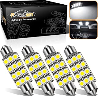Partsam 4pcs White 41mm 42mm Festoon 12SMD LED Light Interior Dome Map Trunk Cargo Footwell Replacement Bulb Lamp 12V 561 562 578 211-2
