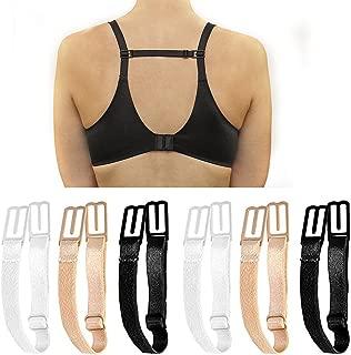 6 pcs Bra Strap Clips Adjustable Anti-slip Elastic Strap Holder, Black+Beige+White