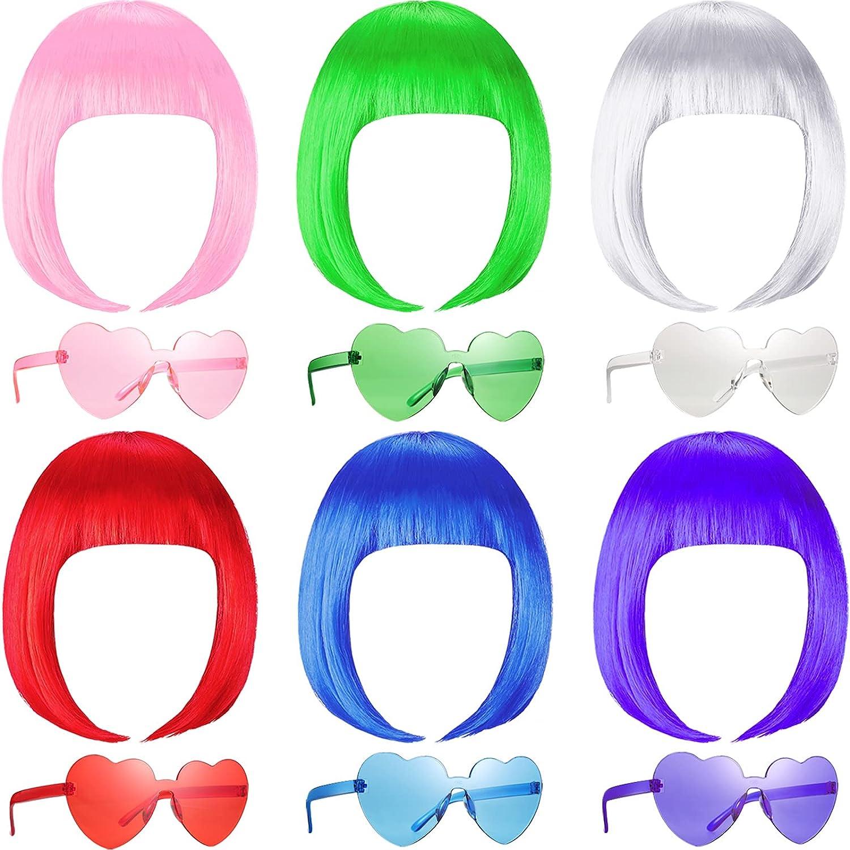 12 Pieces Party Wigs and Super sale Sunglass Ultra-Cheap Deals Short Neon Set Bob Hair