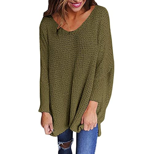 Sidefeel Women V Neck Oversized Knitted Baggy Sweater Top Jumper Pullovers  Medium Green 80edf99e9