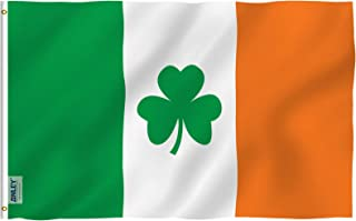 Anley Fly Breeze 3x5 Foot Ireland Shamrock Flag - Vivid Color and UV Fade Resistant - Canvas Header and Double Stitched - Saint Patrick's Day Clover Flags Polyester with Brass Grommets 3 X 5 Ft