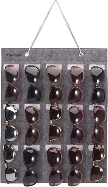 PACMAXI Sunglasses Storage Organizer Wall Pocket Mounted By Sunglasses Hanging Eyeglasses Storage Holder Eyewear Display 15 Felt Slots Grey