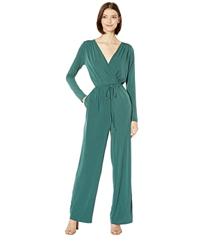 BCBGeneration Surplice Jumpsuit (Dark Green) Women