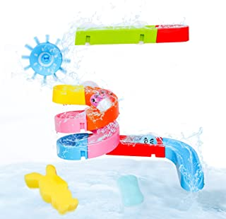 zoordo Baby Bath Toy, DIY Ball Track Bathroom Toy Set Fun Bathtub Shower Gift Stick to Wall with Suction Cup and Wheels fo...