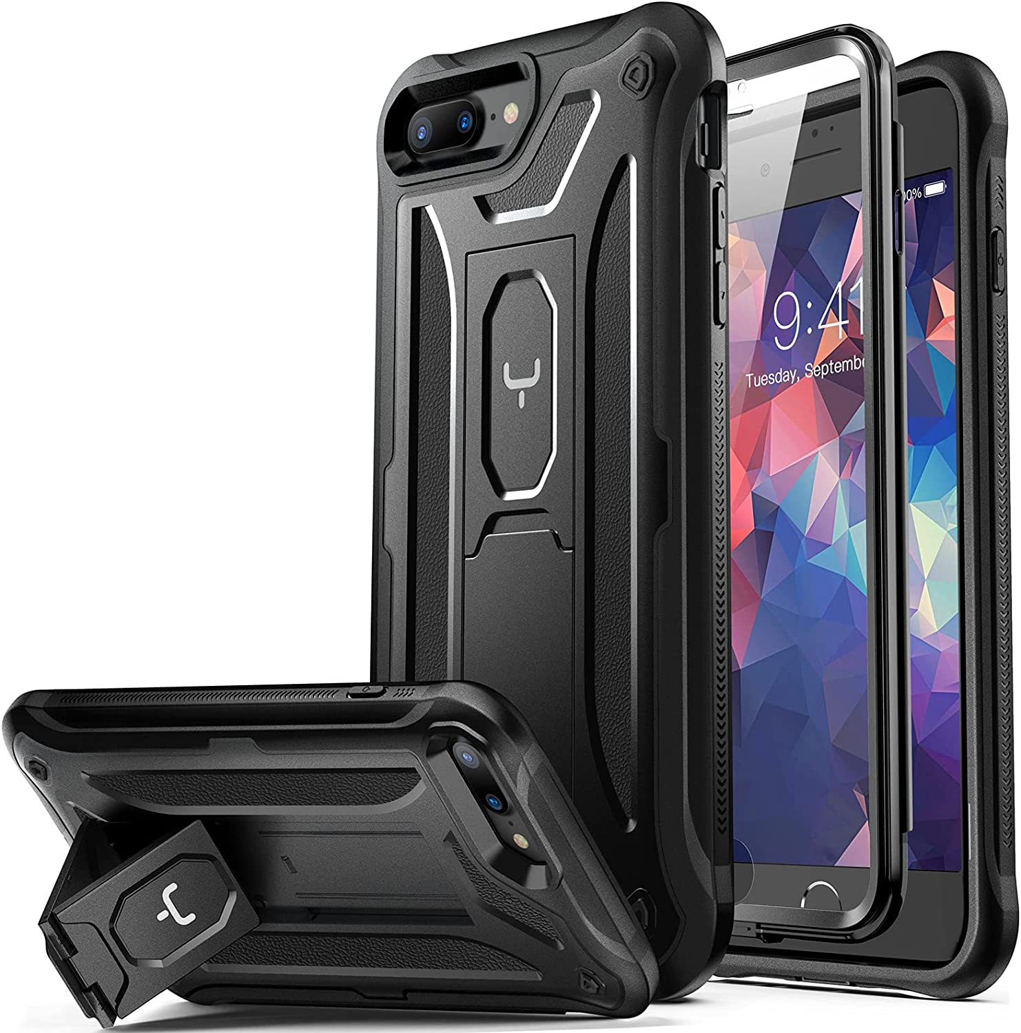 YOUMAKER iPhone 8 Plus Case, iPhone 7 Plus Case, Built-in Screen Protector Kickstand Full Body Heavy Duty Shockproof Cover for iPhone 8 Plus & iPhone 7 Plus 5.5 inch - Black