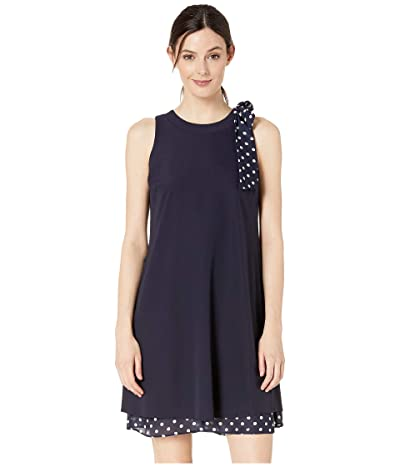 Tahari by ASL Stretch Crepe Dress with Polka Dot Bow Shoulder and Hemline (Navy) Women