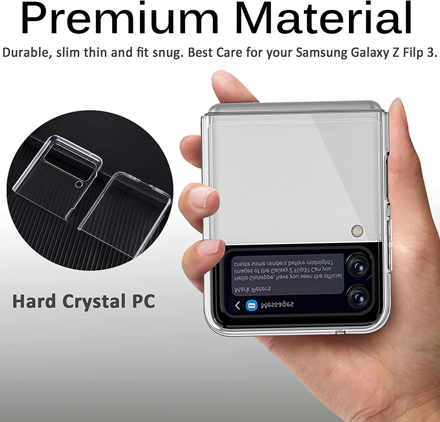 Miimall Compatible with Samsung Galaxy Z Flip 3 2021 Clear Case,Galaxy Z Flip 3 Case Ultra-Thin Crystal Hard PC Bumper Anti-Scratch Waterproof Cover Case for Samsung Galaxy Z Flip 3 Flip 3 5G 2021