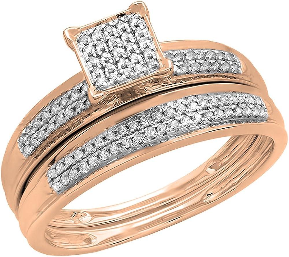 Dazzlingrock Collection 0.25 Carat (ctw) 14K Gold Round White Diamond Ladies Bridal Engagement Ring Set 1/4 CT